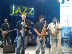 Sound check on tour with Pee Wee Ellis
